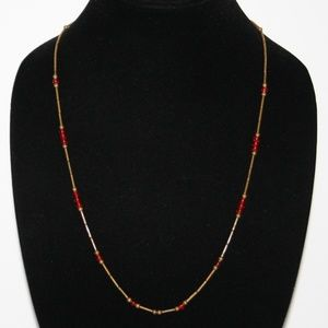 Vintage brass and red beaded necklace